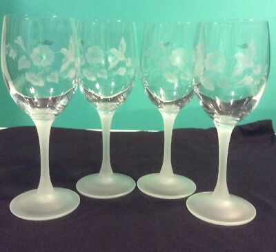 "Set of 4 AVON Hummingbird Etched/Frosted Wine Gasses 7-3/8"" Tall,  24% Crystal"