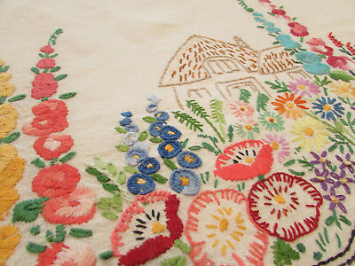 "Vintage White Linen Tablecloth Hand Embroidered Flower Garden Cottage 49"" x 51"""