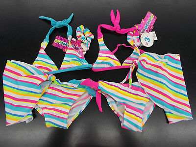 Toddler Girls Number One Girls $25 4pc Multi-Colored Striped Swimsuits Size 2T