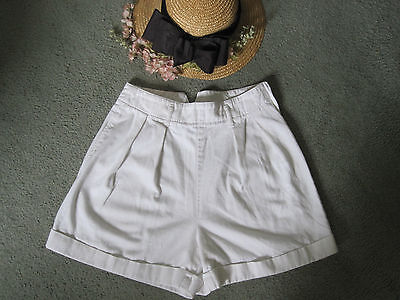 "vtg 80's  Calvin Klein White High Waisted tab back side zip COTTON SHORT 6 26"" S"
