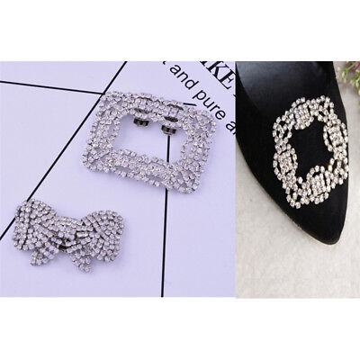 1x Women Shoe Decoration Clips Crystal Metal Shoes Buckle Bridal Wedding DecorYE