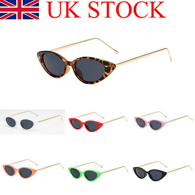 Slim Frame Retro Vintage Womens Cat Eye Sunglasses 1990's Fashion Eyewear UK