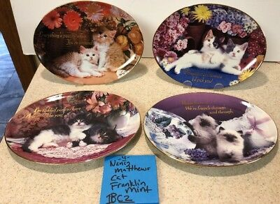 4 FRANKLIN MINT LIMITED BY NANCY MATTHEWS Cat Kitten Oval Plates Siamese Calico