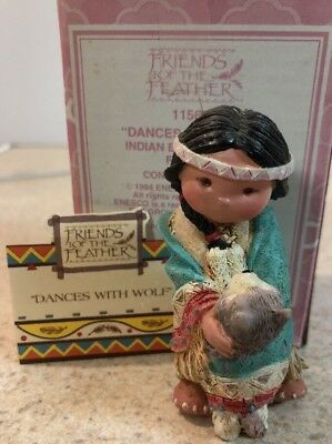 1994 Enesco Friends of the Feather Dances With Wolf Pup Indian Boy 115657 MIB