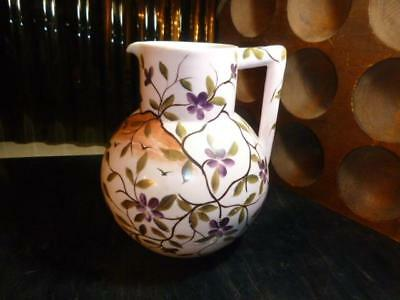Vintage Hand Painted Milk Glass Flowering Branches Pitcher