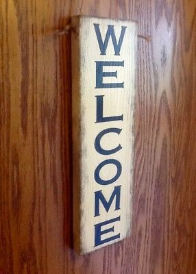 Handmade Rustic Primitive Country WELCOME Wood Sign VINTAGE THEME Knotty Pine