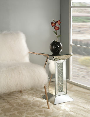 Acme Nysa Pedestal Stand in Mirrored and Faux Crystals Finish 97306