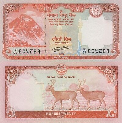 Nepal 20 Rupees (2016) - Stags/Mt. Everest/p78 UNC