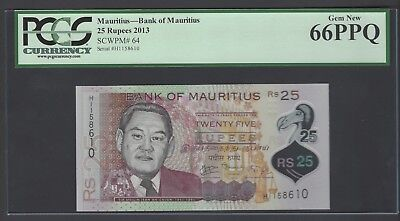 Mauritius 25 Rupees 2013 P64  Uncirculated Graded 66
