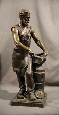 19th Century Iron-smith Bronze with Dark Brown Patina Man Figure Sculpture