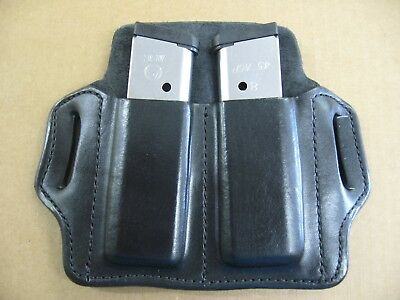 LEATHER 2 SLOT Molded Pancake Belt Double Mag Pouch For 1911 45 9mm 40 10mm  BLK