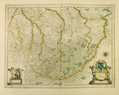 CHAMPAGNE LATINE CAMPANIA Wine Map c. 1640 Willem & Johannes Bleau FRANCE