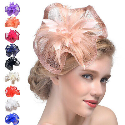 Women Fascinator Hat Feather Mesh Net Veil Party Hat Flower Hat Hair Clip Hat