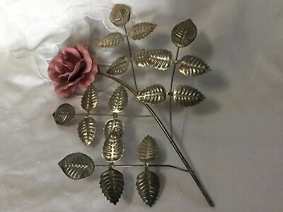 "Vintage Brass Copper Welded Metal Rose Wall Decor Sculpture 9""x11"""