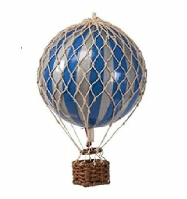 "Authentic Models Holiday Xmas Hot Air Balloon Decoration 3.25"" Silver & Blue"