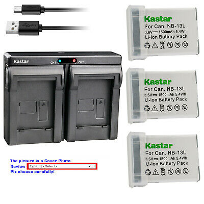 Kastar Battery Slim Dual Charger for Canon OEM NB-13L Battery CB-2LH 2LH Charger