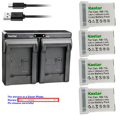 Kastar Battery Slim Dual Charger for Canon NB-13L CB-2LH PowerShot G7 X Mark II