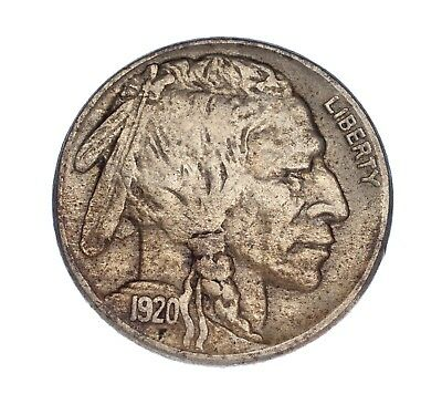 1920-S 5C Buffalo Nickel, VF Condition, Some Toning, Strong Horn