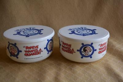 2 Popeye Quaker Oats Cereal Bowls with lids 1990 Popeye wants a Quaker Olive Oil