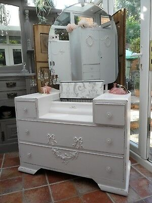 Vintage Painted Dressing Table Laura Ashley Jewellery Compartment Shabby Chic