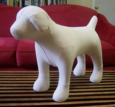 "Dog Mannequin Sewing Display Cream Canvas 15"" Tall"