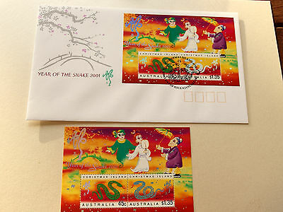 Christmas Island 2001 - Year of The Snake mini sheet  MNH + FDC