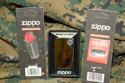 Zippo Regular High Polished Chrome Lighter (with Wick and Flints) NEW