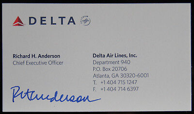 delta airlines ceo richard anderson signed business card psa dna
