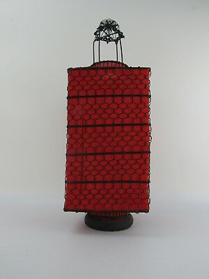 A Chinese Antique Style Lantern 22 '' High /  Fabric Red Cube Wire