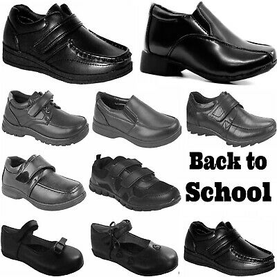 Boys Girls Smart Dress Shoes Kids Trainers Formal Wedding Black School Boots New