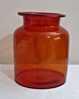 Vintage Retro Red Glass Jar Canister Hand Blown Canister Container No Lid