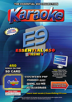 Chartbuster Essential 450 Karaoke Songs Vol 9 SD Card or USB CDG Music 4 PLAYER