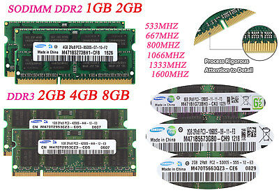 For Samsung MEMORY RAM 1x1GB PC-6400 200-pin DDR2 800MHz SO-DIMM Notebook RY1