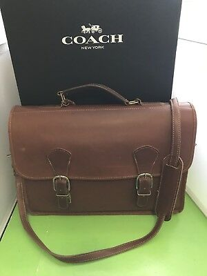 Coach Brown Leather Briefcase Attache Case Messenger Bag 0444 316 Made In Usa