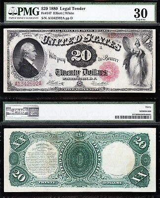 Awesome *RARE* Bold & Crisp VF++ 1880 $20 HAMILTON Legal Tender Note! PMG 30!