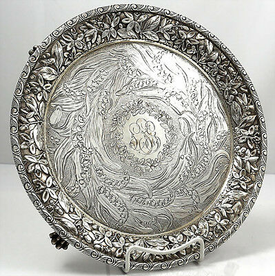 LILY OF THE VALLEY Repousse Sterling Silver SALVER TRAY Baltimore