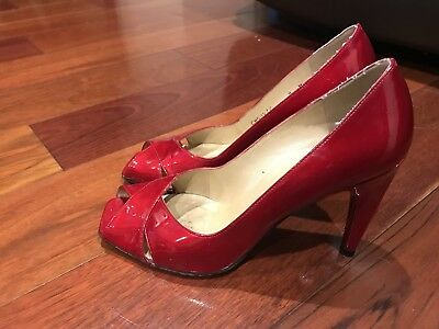 b437d7910cac Stuart Weitzman Red Patent Leather Open Toe Heels Shoes Women s Size 8 M