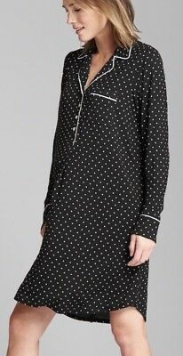 NWT Gap PureBody Maternity Print Sleep Dress Size XS Black Polka Dot $50 #422185