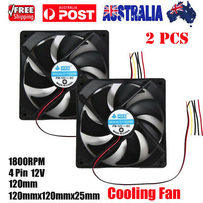 2Pcs 1800PRM 120mm 120x25mm 12V 4Pin DC Brushless PC Computer Case Cooling Fan