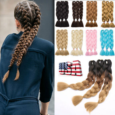 """24"""" Afro Twist Braids Ombre Synthetic Jumbo Braiding Hair Extensions 5 Packs US"""