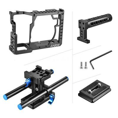 Andoer Aluminum Alloy Camera Cage + Top Handle + 15mm Rod Baseplate Kit S4D3