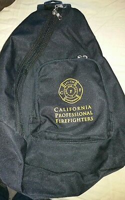 California Professional Firefighters Black One Shoulder Backpack