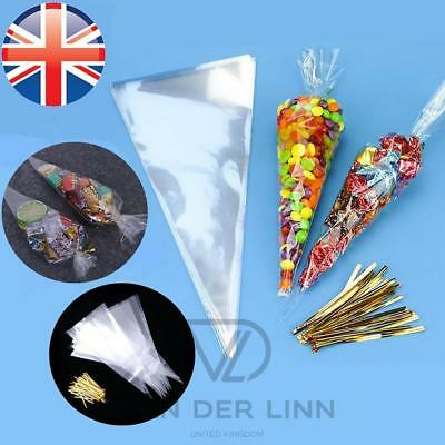 *UK Seller* 2 Sizes Cellophane Cello Cones Sweets Bags Loot Gift Wedding w/ Ties
