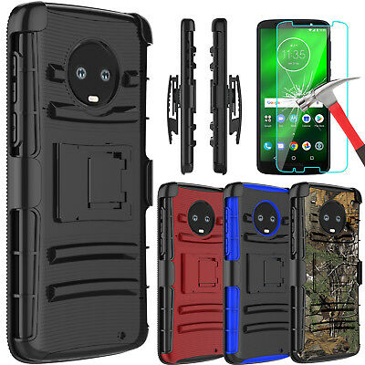 reputable site 5f96d f3fc9 FOR MOTOROLA MOTO G6 Plus Shockproof Case With Kickstand Clip + Screen  Protector