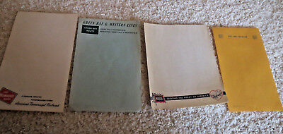 (4) Vintage railroad scratch pad singles Green Bay Soo Line Wabash Milwaukee