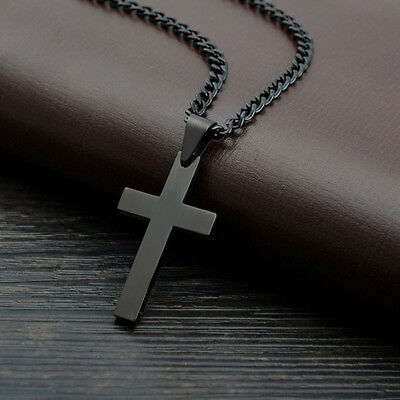 Classic Mens Pendant Cross Necklace Stainless Steel Chain Jewelry Statement