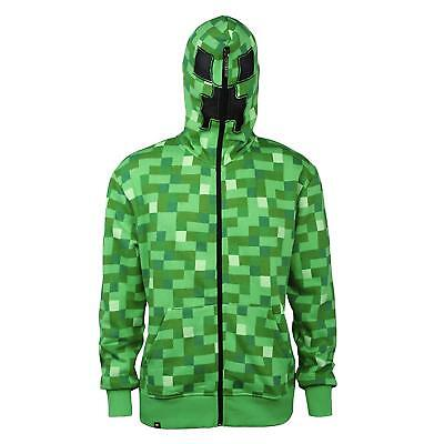 Nwt Minecraft Big Boys' Creeper Monster Premium Zip-up Hoodie Jinx New