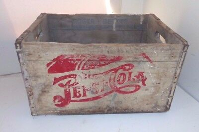 """Vtg """"A Nickle Drink Worth A Dime"""" 24-5 ¢ Bottle 1930s Pepsi Cola Wood Crate Box"""