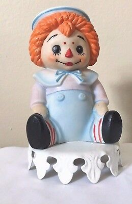 Raggedy Andy Vintage Ceramic Lamp Plug In Tabletop Night Light