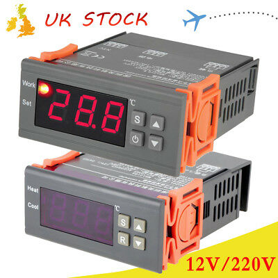 LCD Digital Temperature Controller 2 Relay 10A/AC220V -40~120°C Heater&Cool
